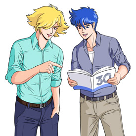 Seiji and Touma enjoying the Fanzine